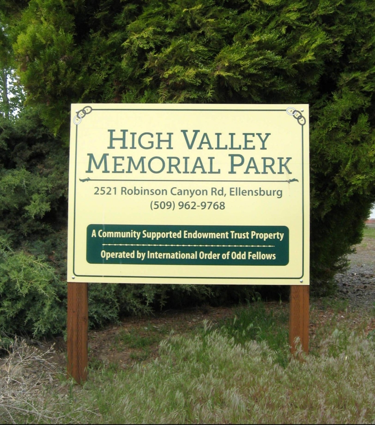 High Valley Memorial Park_ELLENSBURG2_Entrance Sign